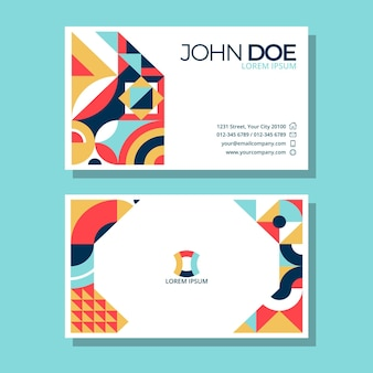 Flat mosaic business card design