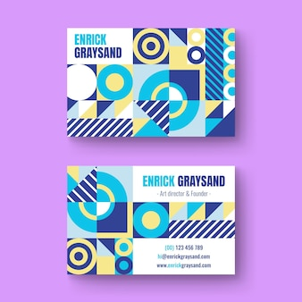 Flat mosaic business card template