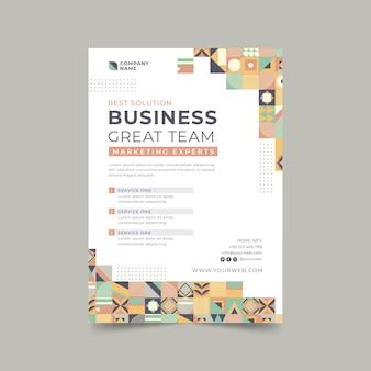 Flat mosaic business flyer template