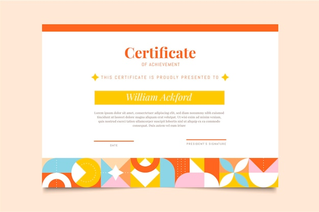 Flat mosaic certificate of achievement template