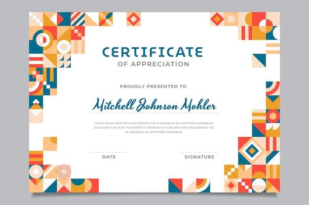 Шаблон сертификата благодарности плоской мозаики