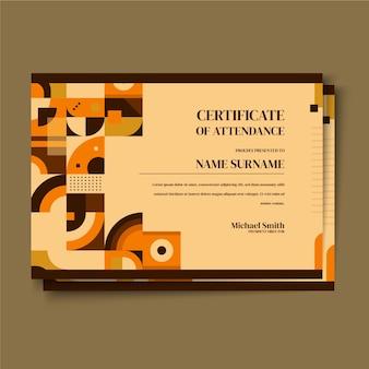 Шаблон сертификата плоской мозаики