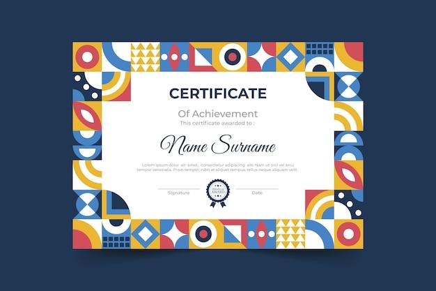 Modello di certificato mosaico piatto
