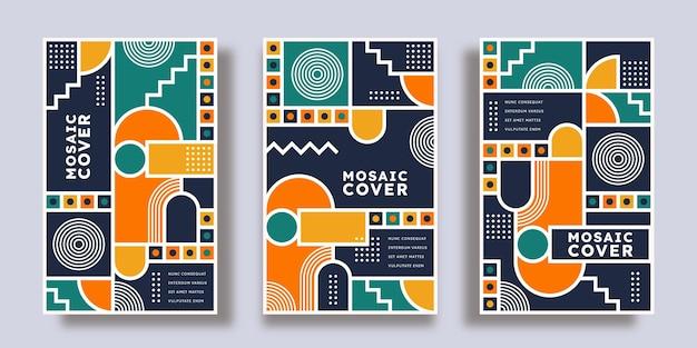 Коллекция плоских мозаичных обложек