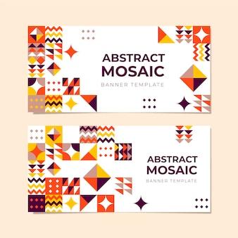 Set di banner orizzontali a mosaico piatto