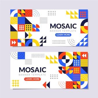 Flat mosaic horizontal banners set