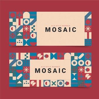 Набор плоских мозаичных горизонтальных баннеров