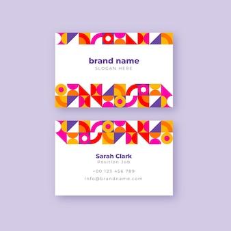 Плоская мозаика горизонтальный шаблон визитной карточки