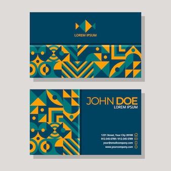Flat mosaic horizontal business card template