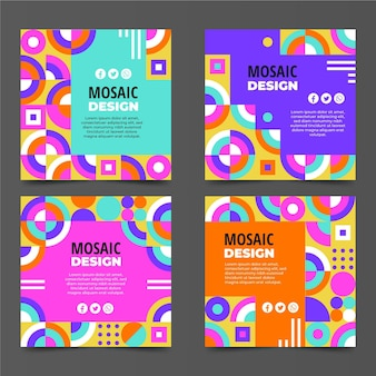 Flat mosaic instagram posts collection