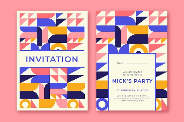 Flat mosaic invitation template