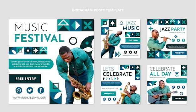 Коллекция постов в instagram с плоским мозаичным музыкальным фестивалем