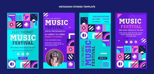 Flat mosaic music festival instagram stories