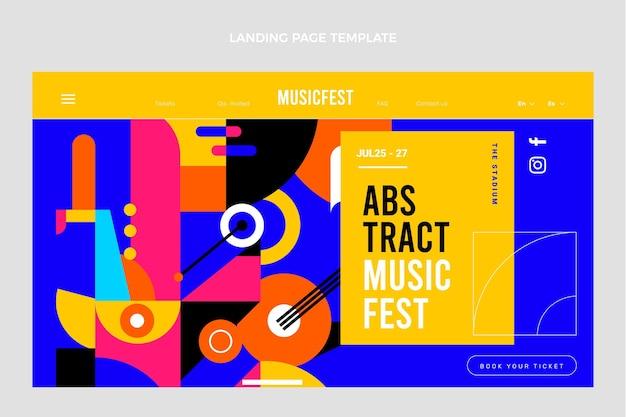 Flat mosaic music festival landing page template
