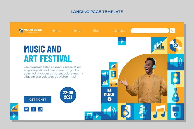 Flat mosaic music festival landing page