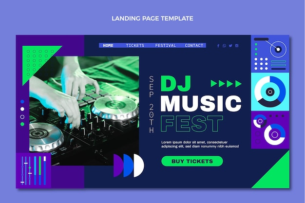 Flat mosaic music festival landing page Free Vector