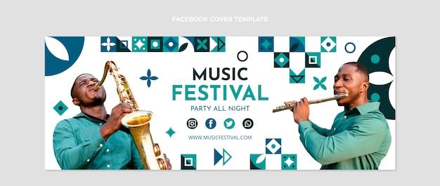 플랫 모자이크 음악 축제 소셜 미디어 표지 템플릿