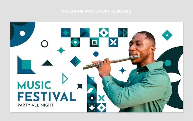 Шаблон сообщения в социальных сетях на музыкальном фестивале плоской мозаики