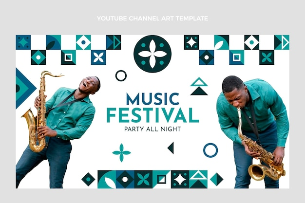 Festival di musica a mosaico piatto youtube channel art