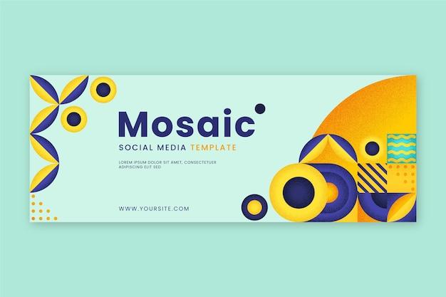 플랫 모자이크 소셜 미디어 표지 템플릿
