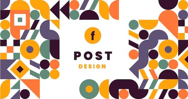 Flat mosaic social media post template