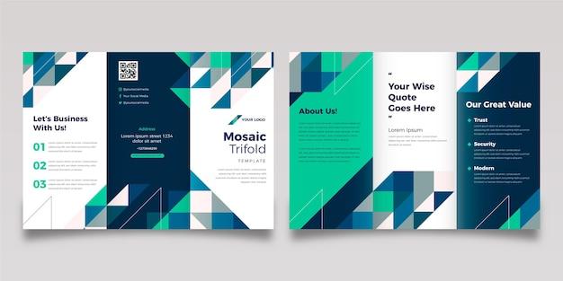 Flat mosaic trifold brochure template