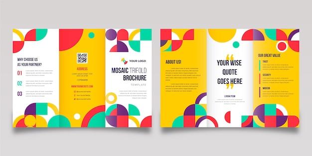 Modello di brochure a tre ante a mosaico piatto