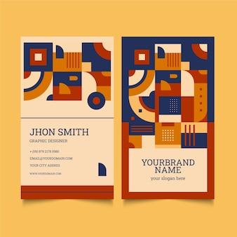 Flat mosaic vertical business card template