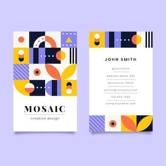 Плоская мозаика вертикальный шаблон визитной карточки