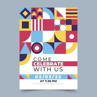 Flat mosaic vertical invitation template