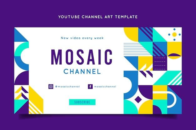 Flat mosaic youtube channel art template