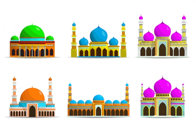 Flat mosque icon set