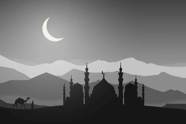 플랫 모스크 풍경 밤 낙타 디저트 아름다운 자연