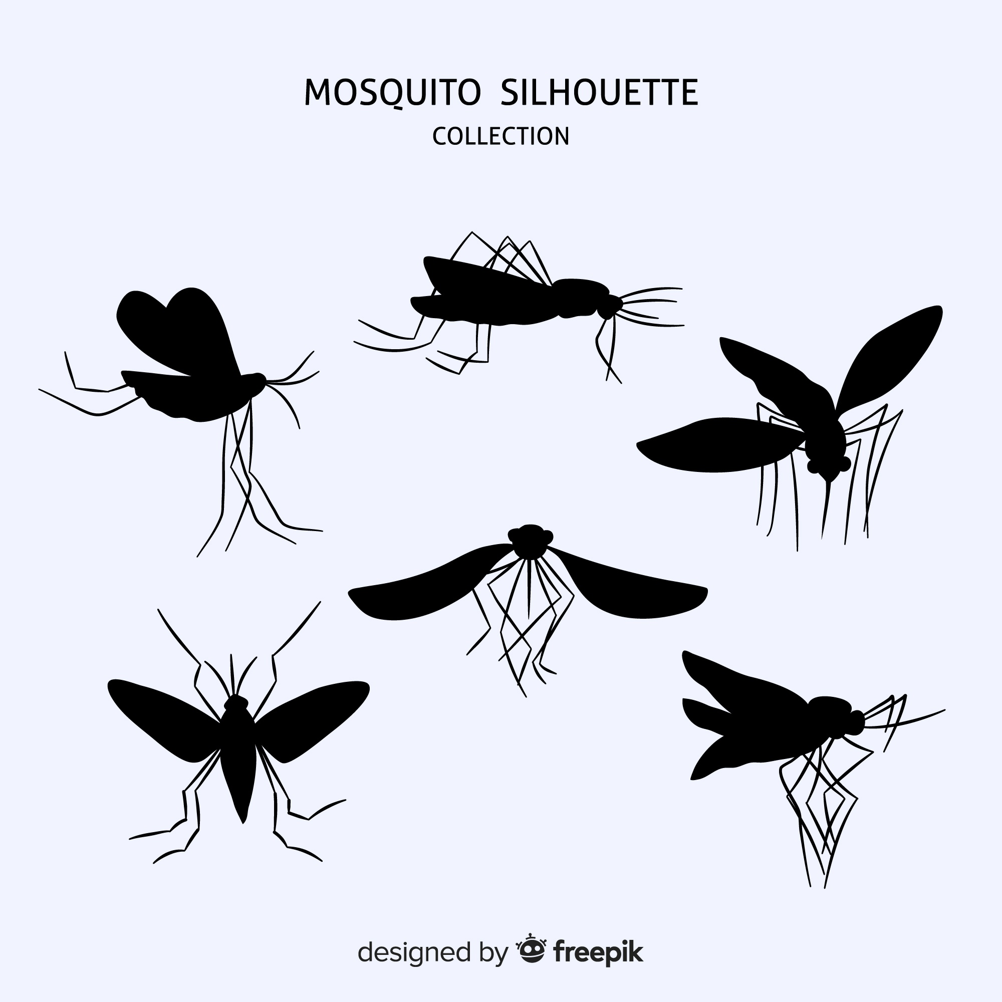 Flat mosquito silhouette collection