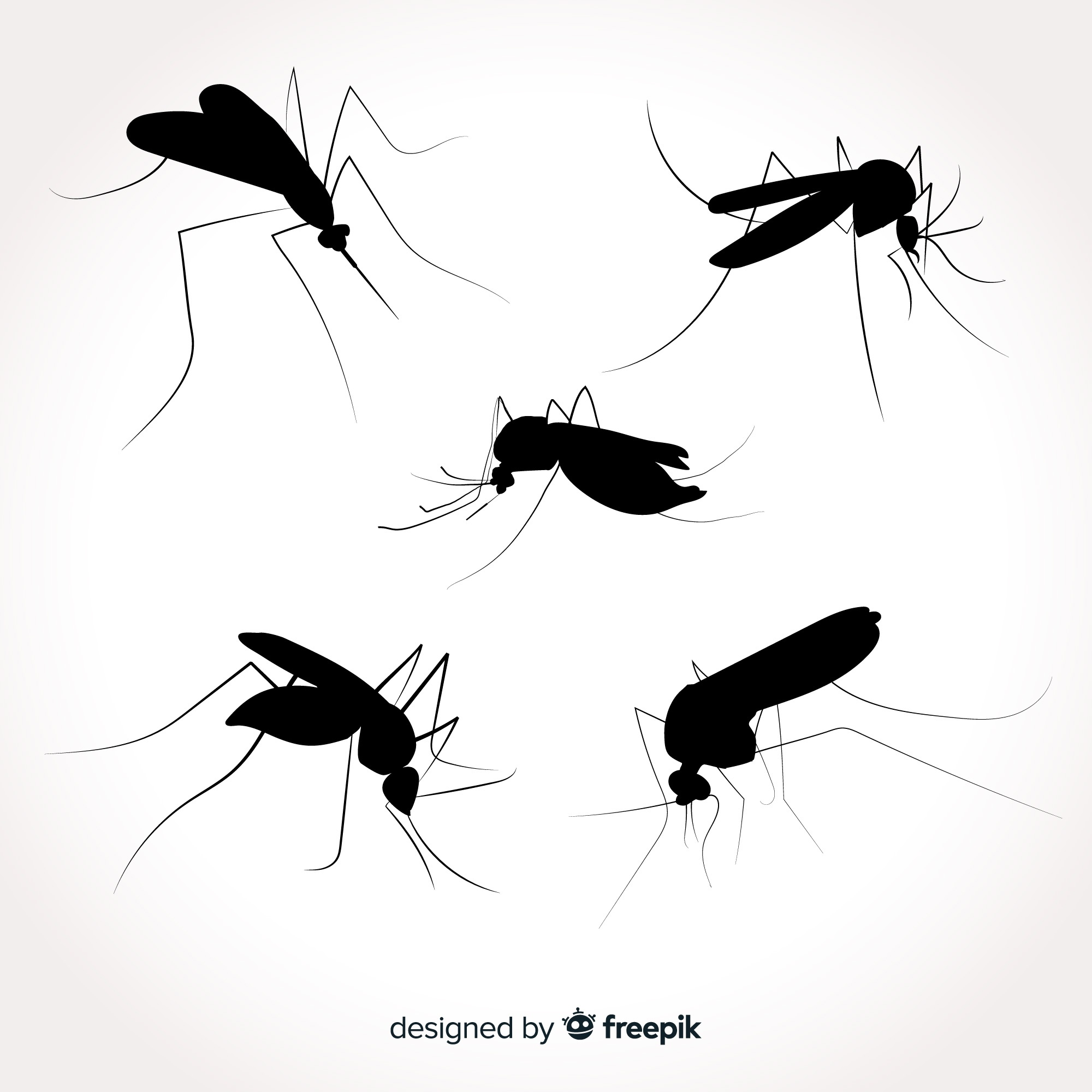 Flat mosquito silhouette pack