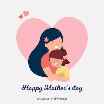 Madre e figlia piatto sfondo di festa della mamma