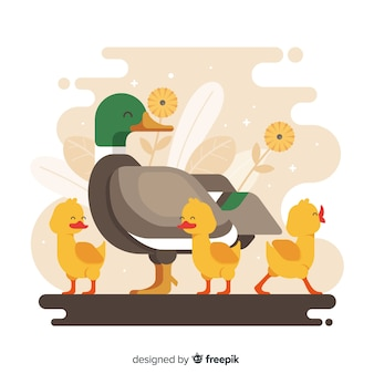 Flat mother duck and cute ducklings