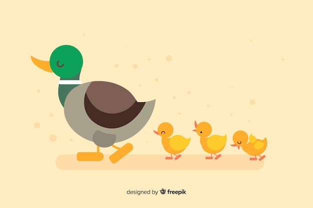 Flat mother duck and ducklings on empty background