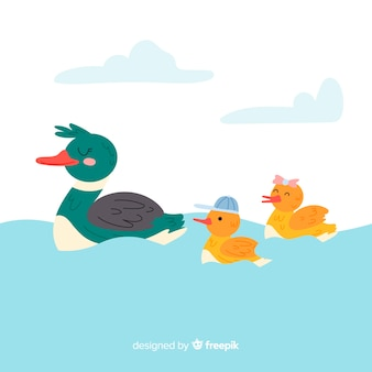 Flat mother duck in the water