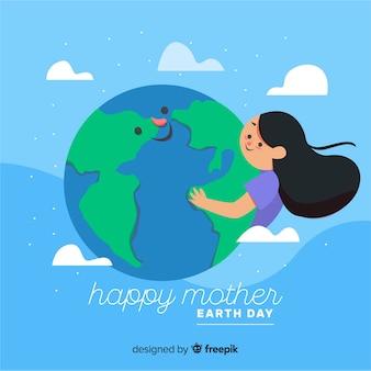 평평한 어머니 지구의 날 배경