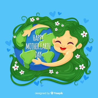 Flat mother earth day background
