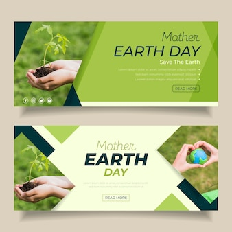 Плоский баннер день матери-земли с фото