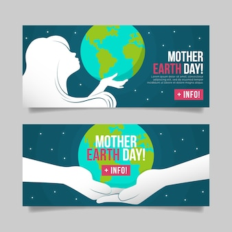 Flat mother earth day banner set