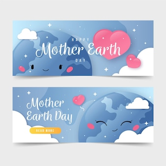 Плоский набор баннеров ко дню матери-земли