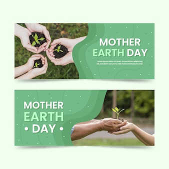 Flat mother earth day banner with photo