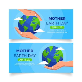 Flat mother earth day banner