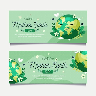 Flat mother earth day banners collection