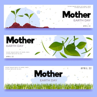 Flat mother earth day banners set