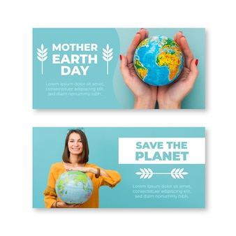 Flat mother earth day banners with photo