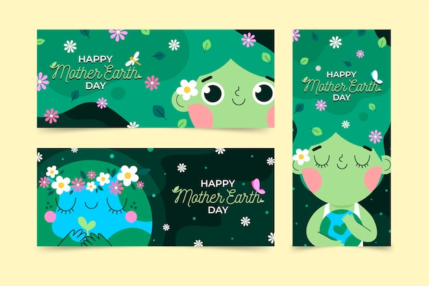 Flat mother earth day banners